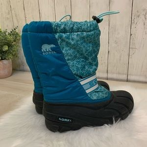 Sorel Blue Insulated Winter Snow Boots Size 4